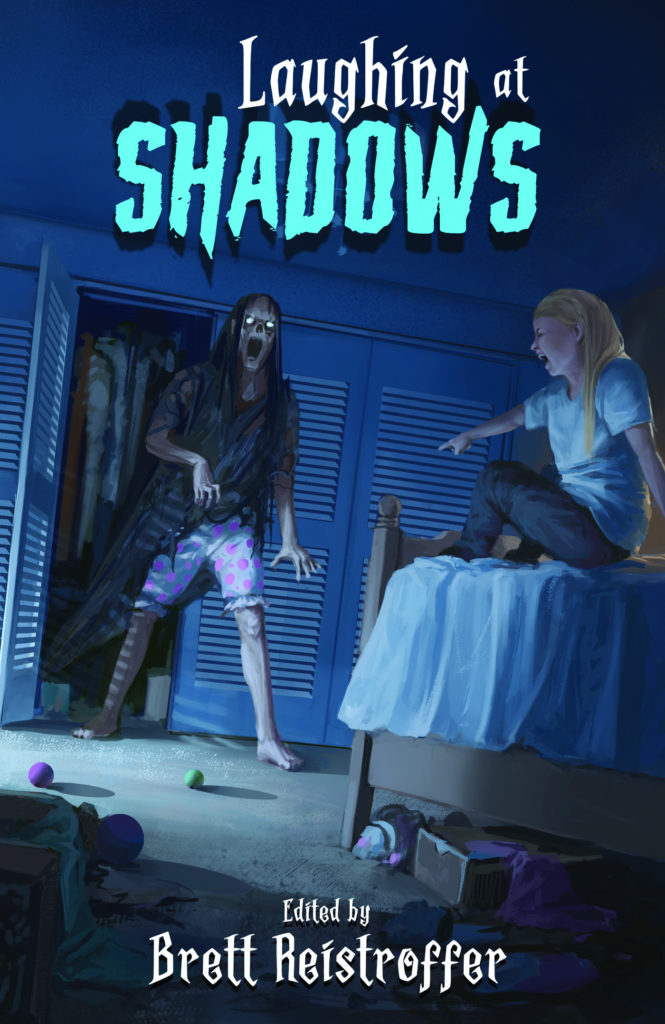 Cover art for Laughing at Shadows, a dark humor anthology, edited by Brett Reistroffer
